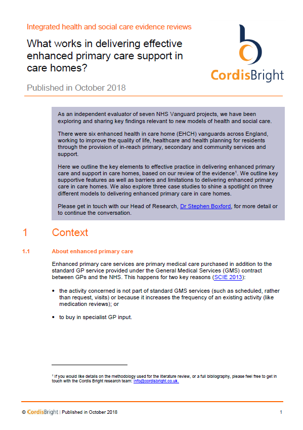 Enhanced primary care support in care homes