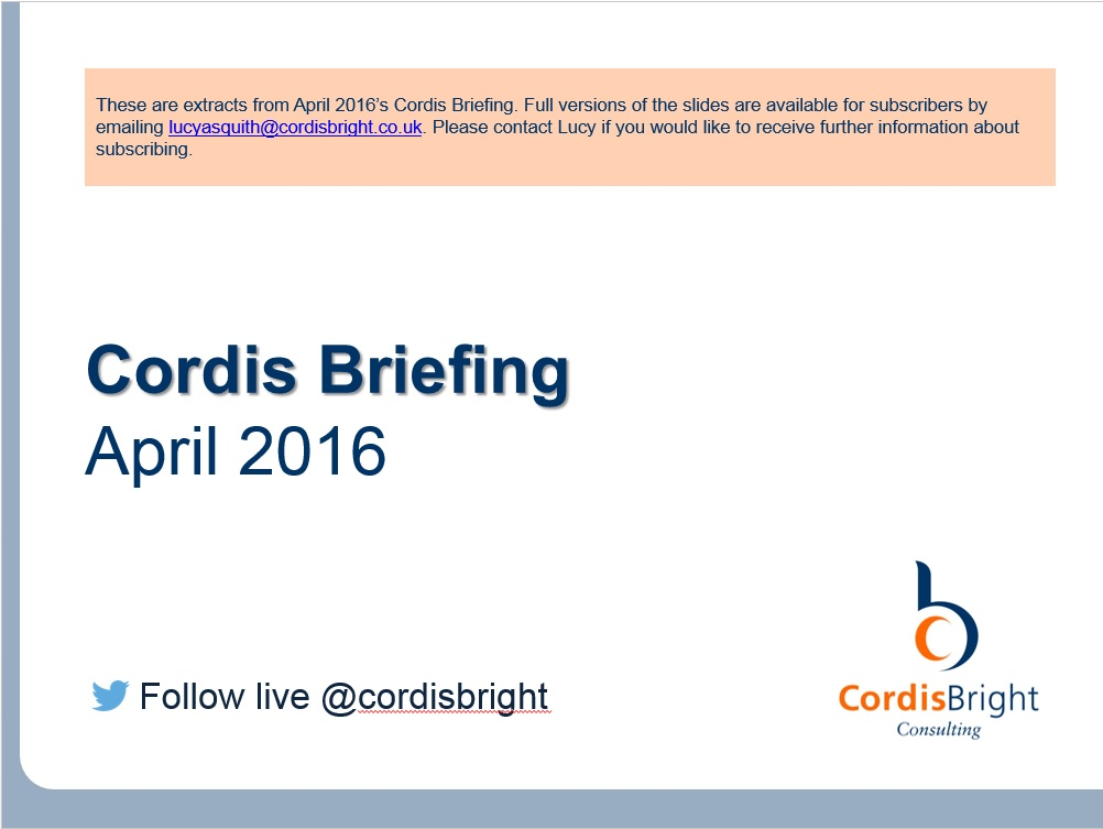 Cordis Briefing: April 2016