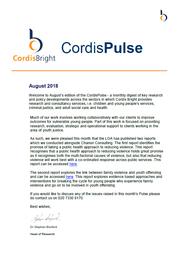 Cordis Pulse: August 2018
