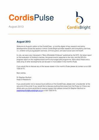 Cordis Pulse: August 2013