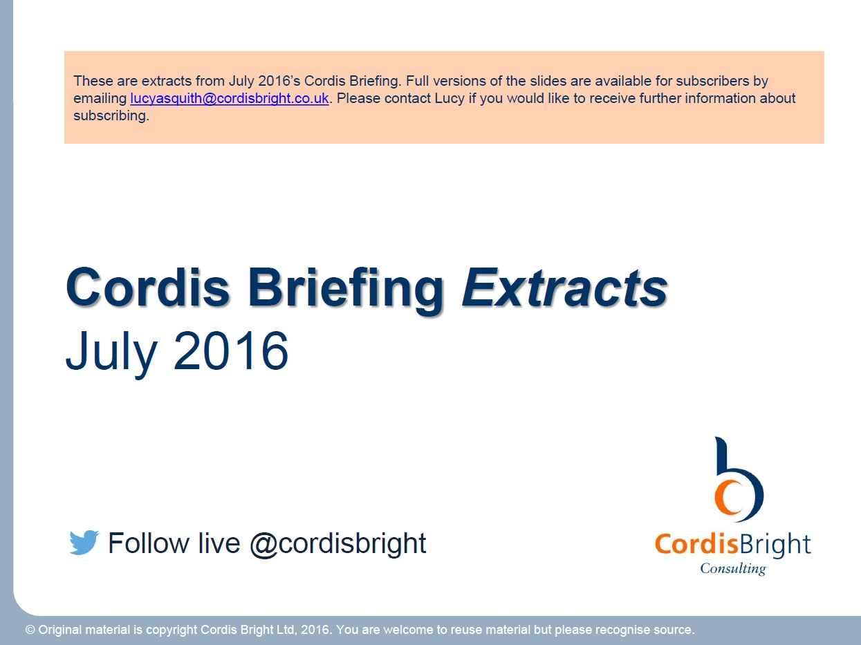 Cordis Briefing: July 2016