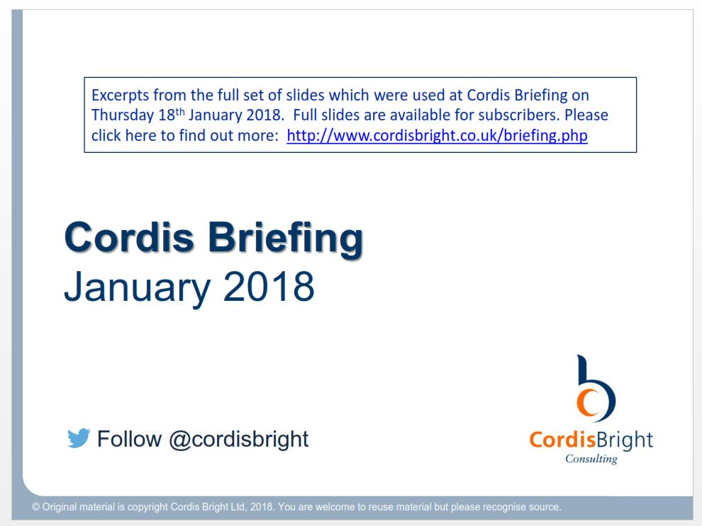 Cordis Briefing: January 2018
