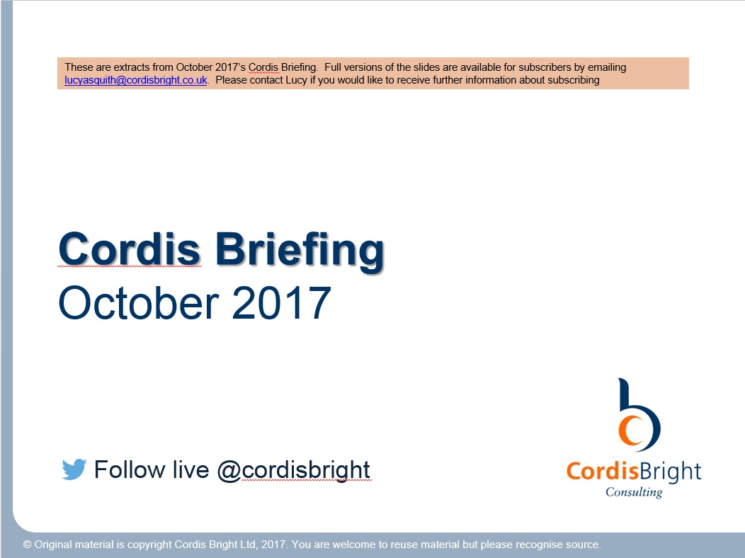 Cordis Briefing: October 2017