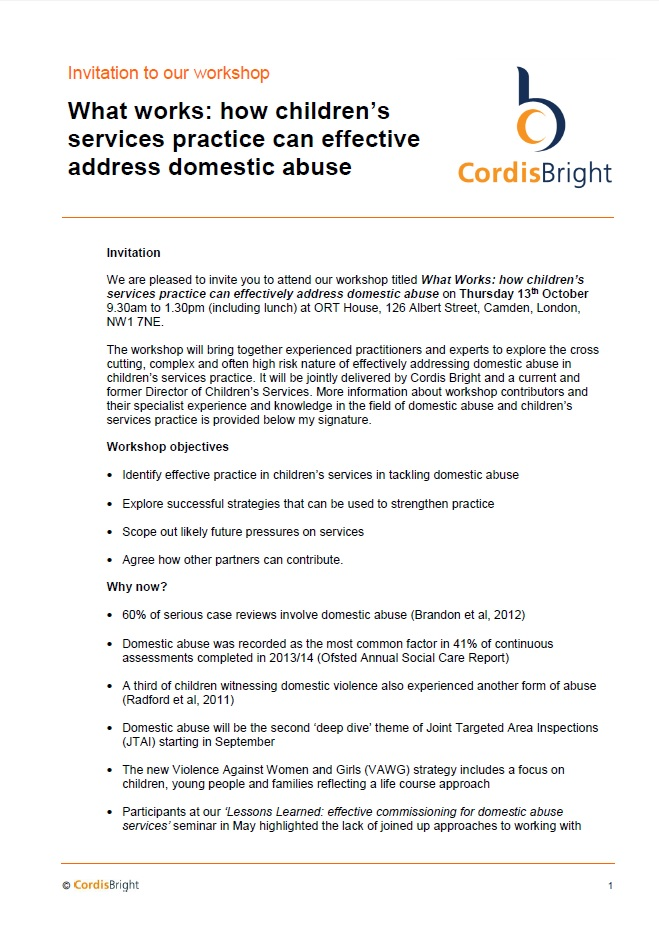 Workshop: effectively addressing domestic abuse
