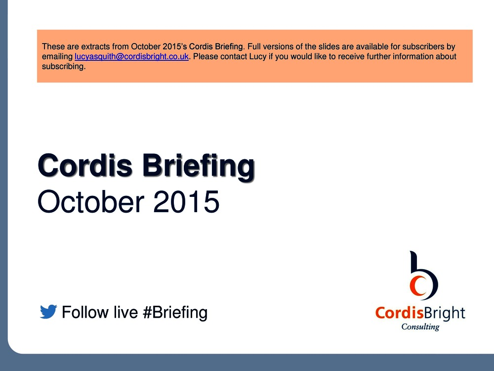 Cordis Briefing: October 2015