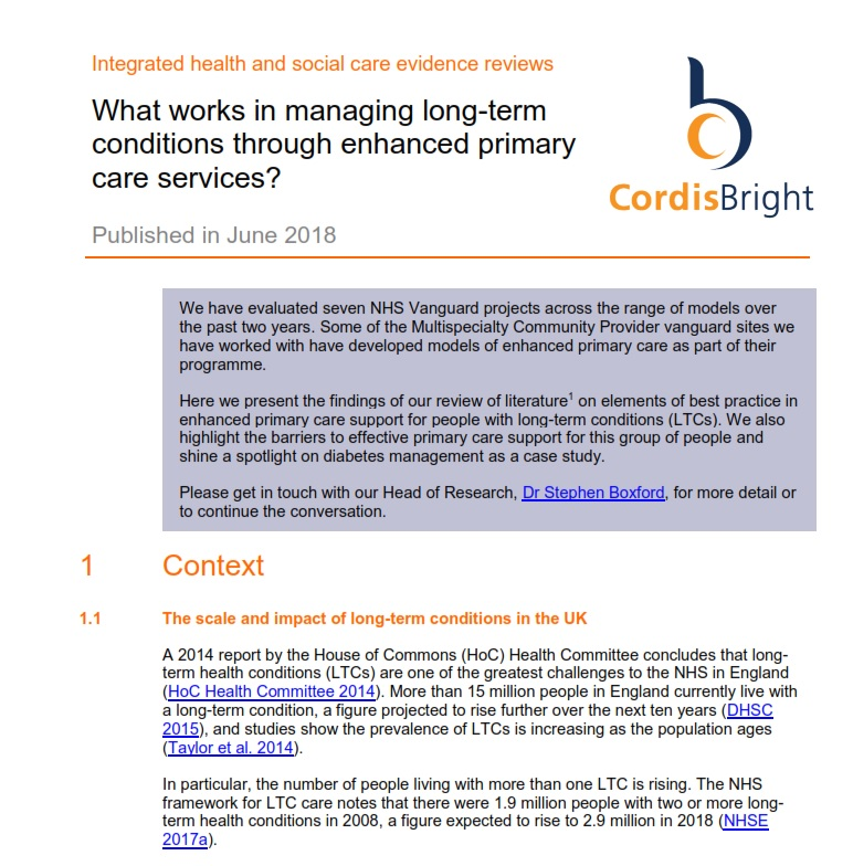 Managing long-term conditions through enhanced primary care services