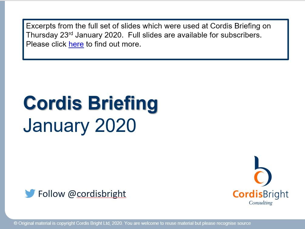 Cordis Briefing: January 2020