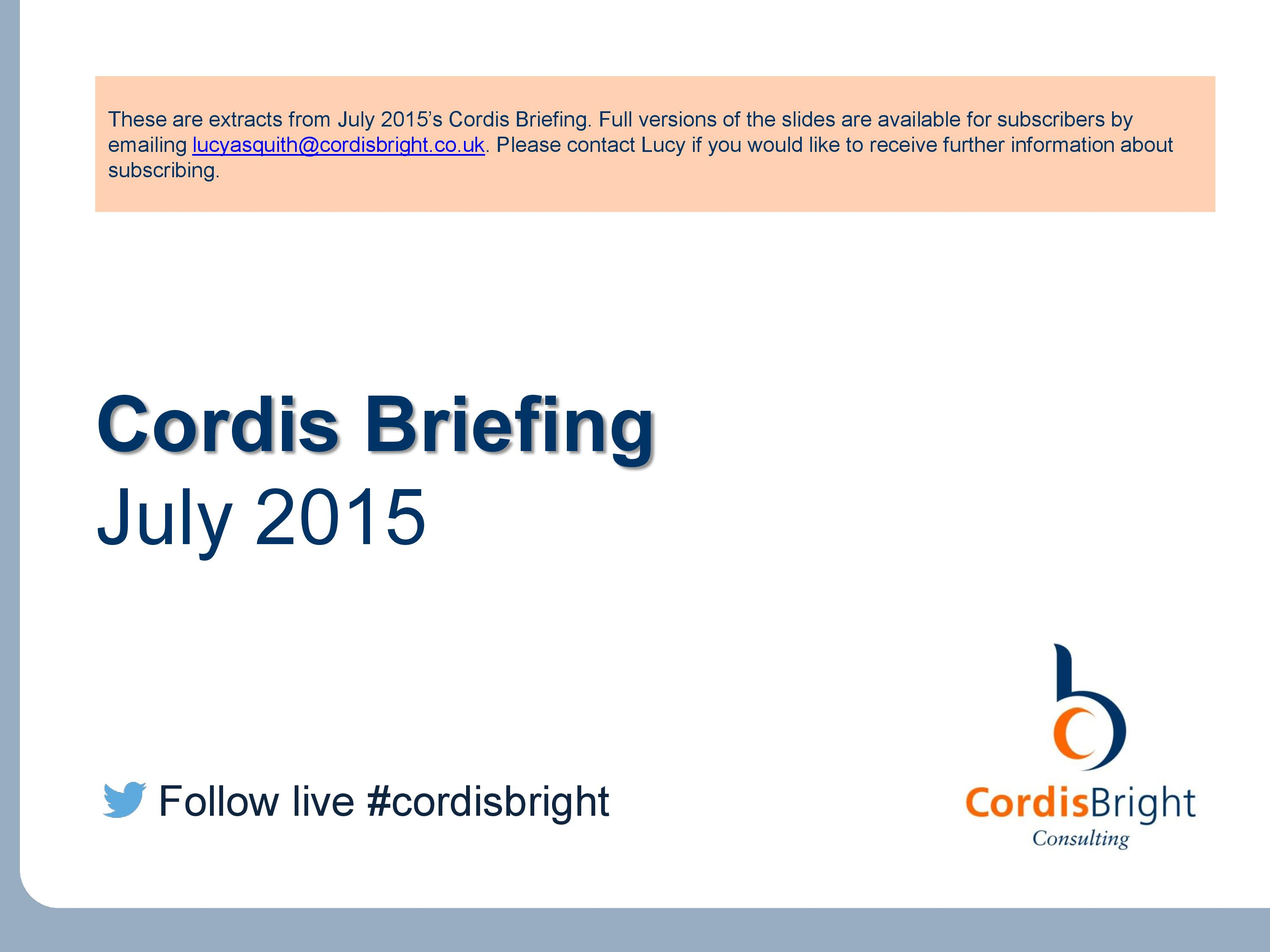 Cordis Briefing: July 2015