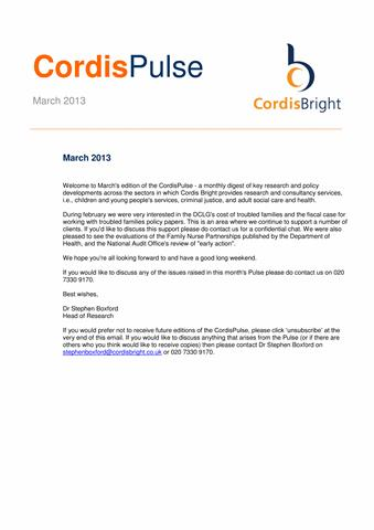Cordis Pulse: March 2013
