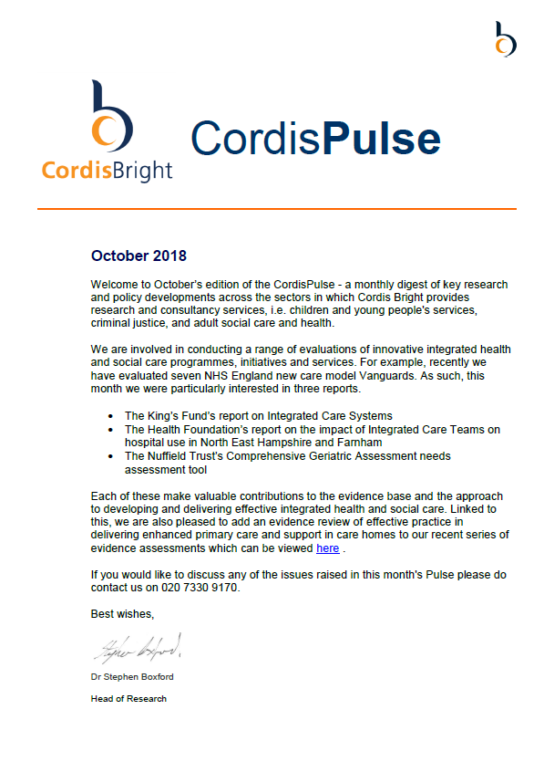 Cordis Pulse: October 2018