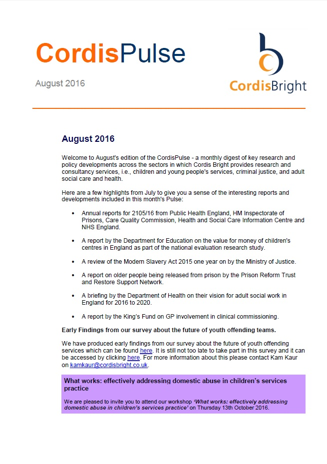 Cordis Pulse: August 2016