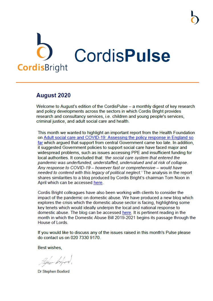 Cordis Pulse: August 2020