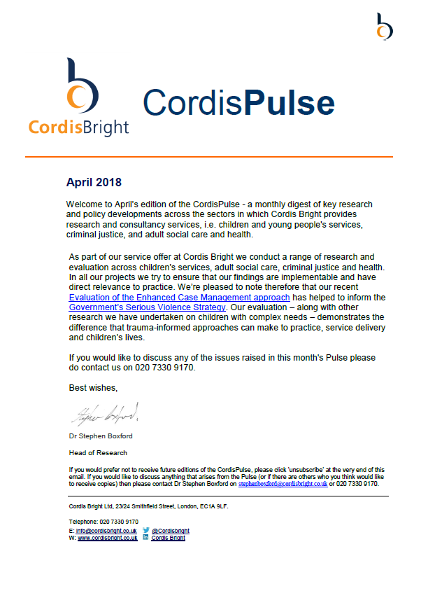 Cordis Pulse: April 2018