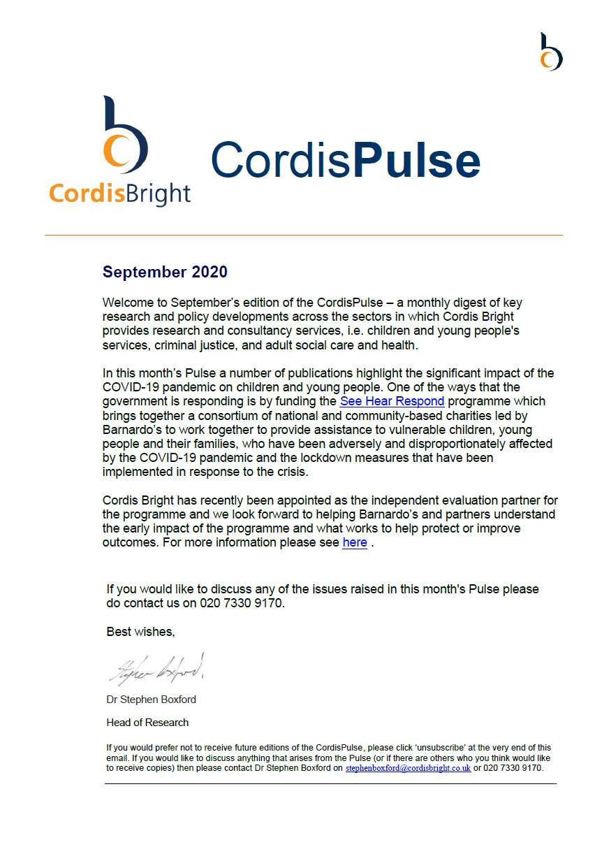 Cordis Pulse: September 2020