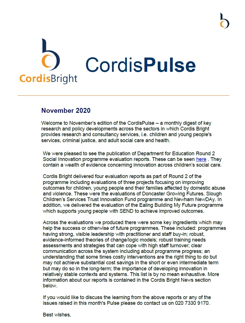 Cordis Pulse: November 2020