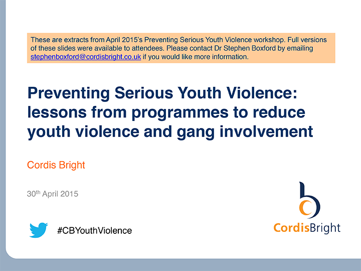 Preventing Serious Youth Violence